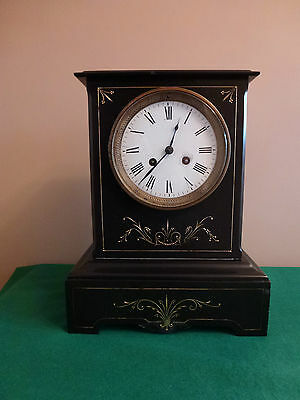 Large Antique French Movement Black Slate Mantle Clock