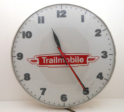 Vintage TRAILMOBILE Advertisement Clock Glass Dome Metal Pam Style USA Electric