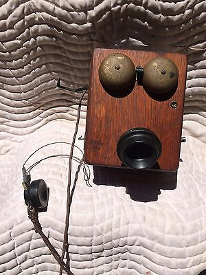 Antique Northern Electric Wooden Crank Wall Telephone-Parts/repair