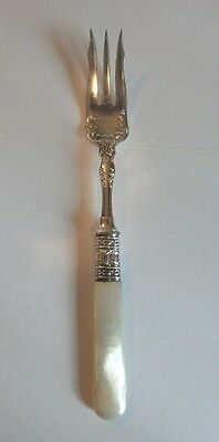 "NICE ANTIQUE SILVER PLATE 7"" SERVING FORK with MOTHER-OF-PEARL HANDLE"