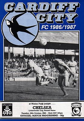 1986/87 Cardiff City v Chelsea, League Cup, PERFECT CONDITION