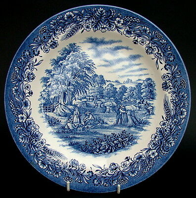 "Churchill Harvest Time Blue Pattern For Currier & Ives Dinner Plate 10"" in VGC"