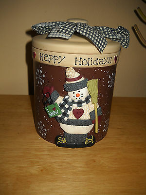 """Happy Holidays Cookie Candy Jar W/ Snowman 6"""" Tall"""