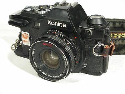 Konica FS-1 SLR Camera 35mm Film Camera W. 40mm Lens & Vintage Strap Japan