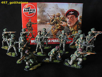 1/32 AIRFIX BRITISH PARATROOPS WW2. PRO-PAINTED X 14 BOXED NEW. 54mm.