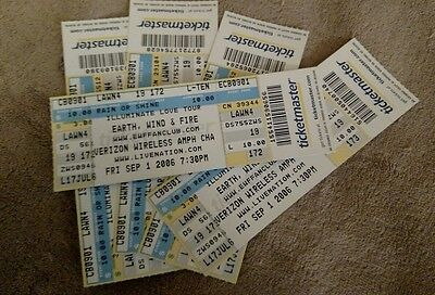 1 untorn EARTH WIND AND FIRE ticket stub charlotte nc 9/1/2006
