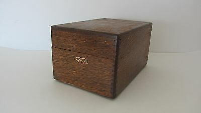 Vintage Oak Wood Card File Box Made By Wise Pre 1960