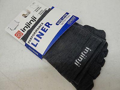 Injinji Toe Socks Liner Base Layer Ultra Thin Nuwool Crew Charcoal Size L