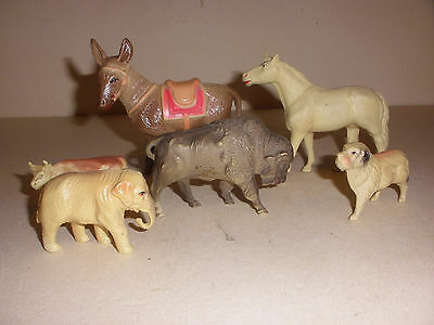 6 lot Vintage Viscoloid Toy Celluloid animals buffalo cow dog horse elephant etc
