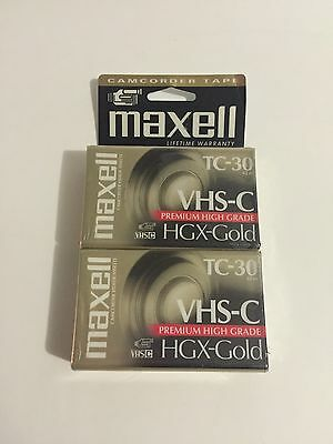 2 NEW Maxwell TC-30 Premium High Grade HGX VHS-C Video Cassette Tapes Camcorder
