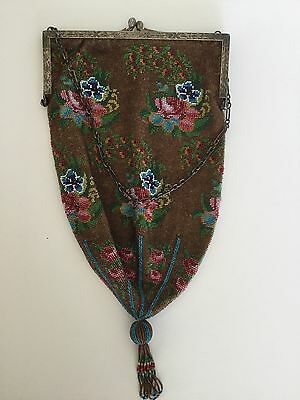 Beautiful Antique Victorian Micro Beaded Purse Bag Floral Design With Tassel