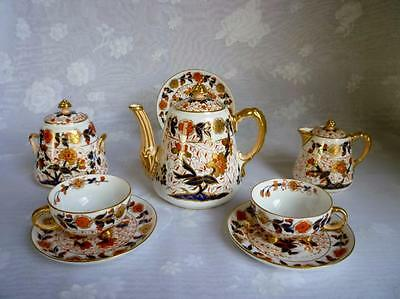 Davenport Longport Staffordshire Imari #2615 Tea Set, Pot, Sugar, Creamer, Cups