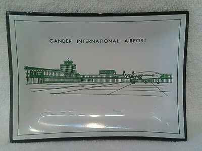 Gander International Airport Canada smoked glass collectable trinket tray plate