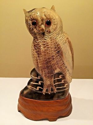 "Vintage JUSTA Hand Carved Buffalo Horn OWL Sculpture 8-1/2"" Figurine Glass Eyes"