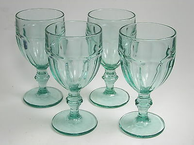 Libbey Spanish Green Gibraltar Pattern Duratuff  Water Goblets Set of 4