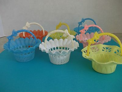 7 Vtg.easter,spring Baskets,candy Holders,antique Table Place Setters,colorful~