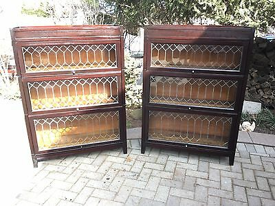 Antique Barrister Bookcase  3 stack leaded glass rare matched pair