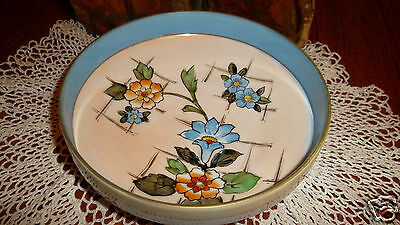 Vintage Japanese Footed Bowl Noritake Nippon Morimura Flowers w/ Gold Gilt