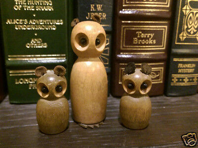 Vintage Set of 3 Miniature Wooden OWLS Made in Germany
