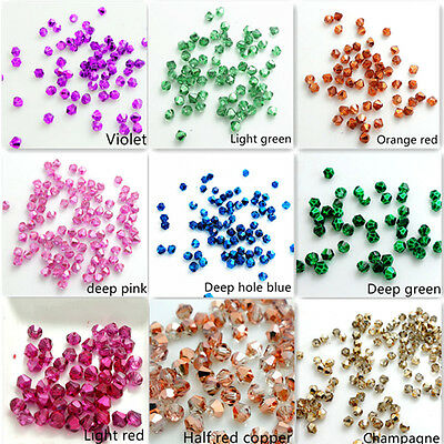 Hot new Half Plated Bicone Faceted Crystal Glass Loose Spacer Beads 3mm 4mm 6mm