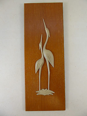 Vintage Retro STORK Wall Hanging Picture On Teak Plaque