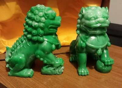 Chinese Ancient Feng Shui Jade twin 2 guardian foo dogs lions decor figurine NEW