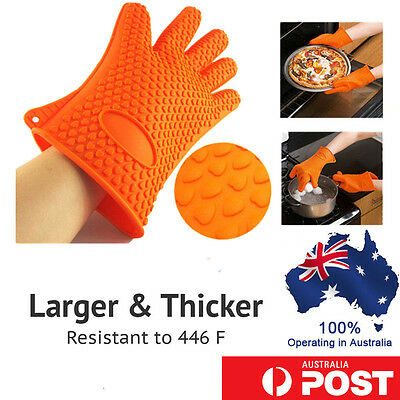 Heat Resistant Silicone Oven Gloves Kitchen BBQ Grill Pot Holder Non Stick Mitts