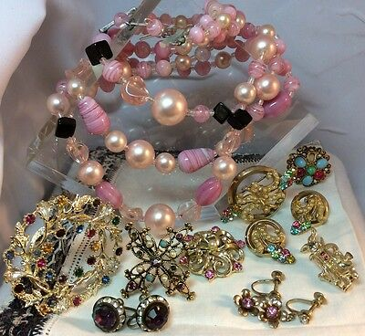 Vintage Jewelry For Repair/UpCycle/Wear, Pink Rhinestones, Art Glass, Rabbit Pin