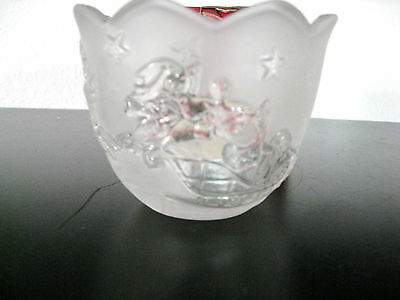 "Mikasa Glass Votive Holder with Christmas Theme Silent Night 3"" High"