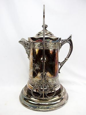 Antique Quadruple Silverplate Tilting Repouse Hot Water Coffee Pot w/Stand