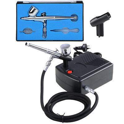 Mini Compressor Kit Dual Action Airbrush Air Brush Spray Gun 7cc Nail Art Set