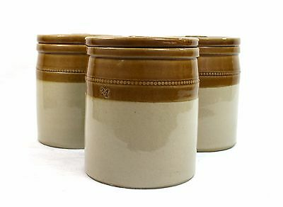 Early 20th C. Utility Stoneware Storage Jars Lidded Set of 3 c.1900-30