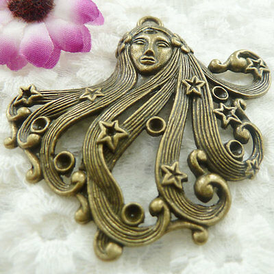 Free Ship 6 pieces bronze plated girl pendant 66x63mm #381