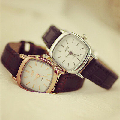 Womens Simple Vintage Watch PU Leather Square Small Dial Quartz Wristwatch