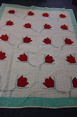 1930's Quilt-TULIPS Pattern- 67x84- 20 Huge Red Appliqued Tulips- DRAMATIC-SALE