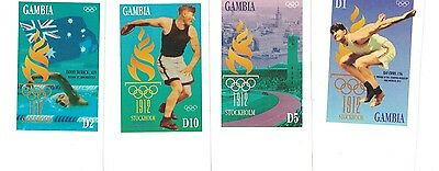 [D*] Gambia - 1912 Olympics Stockholm - Set of 4 MNH IMPERFORATE