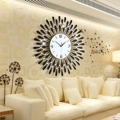 Large Modern 3D Crystal Wall Clock Luxury Art Metal Round Home Decor AU Stock