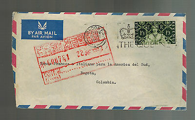 1953 England Cover to Colombia French Italian Bank of South America BOA
