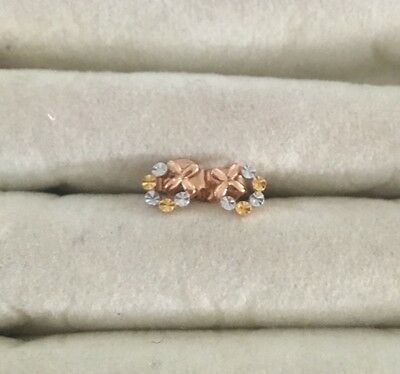 Genuine 18k solid gold earrings with diamond cut 3 tones