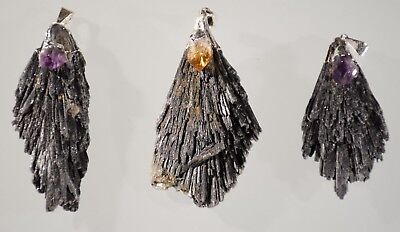 Natural Black Tourmaline Crystal Pendants Lot Amethyst Citrine 3 Piece Crystals