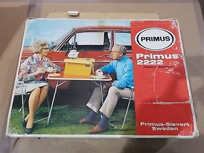 Rare! PRIMUS 2222 Vintage Camping Gas Stove with Box ##7617