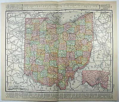 Original 1901 Dated Map of Ohio by Rand McNally