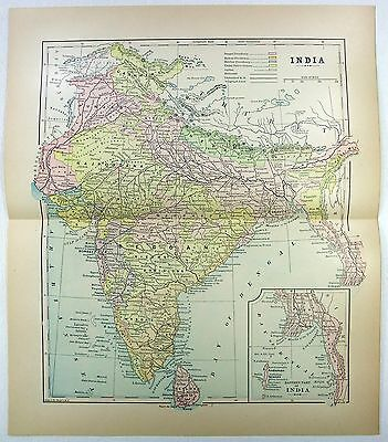 Original 1905 Map of India by Fisk & Co.