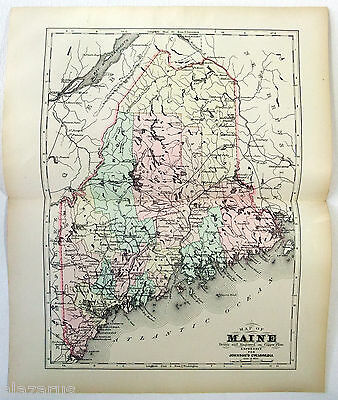 Original 1895 Copper-Plate Map of Maine by A. J. Johnson