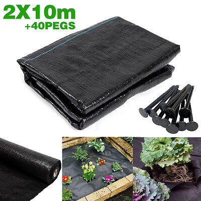 2m x 10m 100g with 40 pegs Weed Control Ground Cover Driveway Membrane Fabric