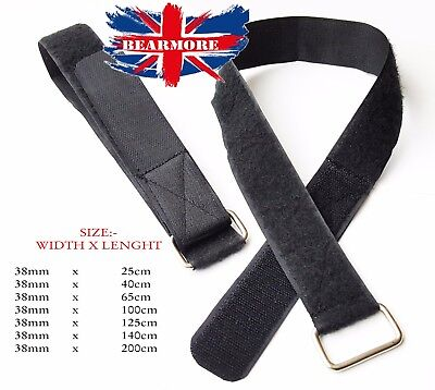 38MM WIDE Black Hook and Loop Heavy Duty Strap Strapping Cable Ties with Buckle