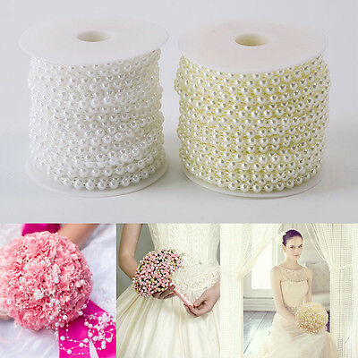 25M 6MM Pearl Beads Garland String Spool Rope Wedding Bridal Party Decor Ivory
