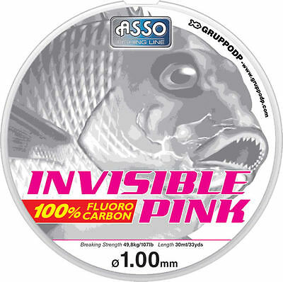 ASSO INVISIBLE PINK 100% FLUORO CARBON LINE 30m SPOOL  VARIOUS B/S