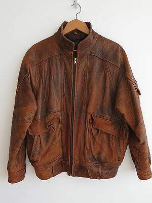 Vintage 1980s brown leather flying jacket, oversized, worn, unisex, M