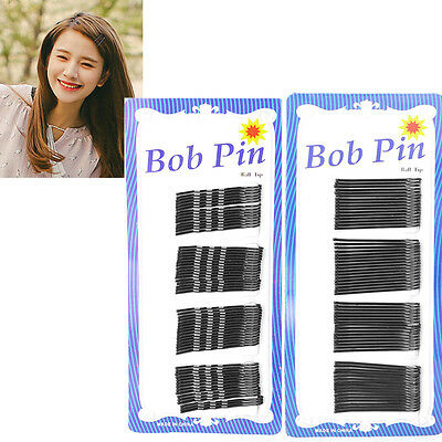 60Pcs Black Invisible Hair Clips Flat Top Bobby Pins Grips Salon Barrette 45mm